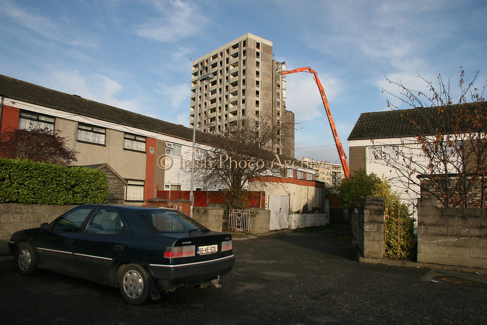 Ballymun flats knocked down May 2007 *** Local Caption *** Copyright and Related Rights Act, 2000.<br />Under the Copyright and Related Rights Act, 2000 the copyright of any photograph or image belongs to and remains with SKP & Associates Ltd trading as Lensmen & Associates. If clients wish to use their images for promotional or advertising purposes SKP & Associates Ltd T/A Lensmen & Associates would recommend that the Client would get model release forms signed and dates from the people within the image. If there are children within the images either a parent or a guardian must sign model release forms before any photographs are taken, thus giving written permission to the client to the use of the images for any purpose the client so wishes. It would  be up to you,  It is important to note that under the COPYRIGHT AND RELATED RIGHTS ACT 2000 the copyright of these photographs are the property of the photographer and they cannot be copied, scanned, reproduced or electronically stored in any form whatsoever without the written permission of the photographer