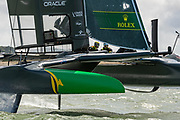 SailGP Team Australia helmed by Tom Slingsby practice ahead of the Cowes regatta. Event 4 Season 1 SailGP event in Cowes, Isle of Wight, England, United Kingdom. 7 August 2019: Photo Chris Cameron for SailGP. Handout image supplied by SailGP
