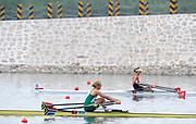 Shunyi, CHINA.  Women's single sculls semi final C/D, RSA W1X, GEYSER Rika, at the 2008 Olympic Regatta, Shunyi Rowing Course. Tuesday 12.08.2008  [Mandatory Credit: Peter SPURRIER, Intersport Images]