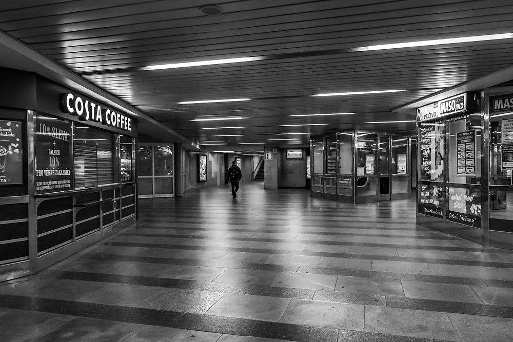 Deserted Underground subway to metro, Prague, Czech Republic.