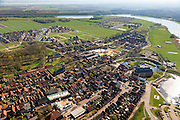 Nederland, Overijssel, Gemeente Steenwijkerland, 01-05-2013; Vollenhoven, gezien naar de Noordoostpolder. In het centrum de Grote of Sint Niklaaskerk (laat-gotische hallenkerk), links de Kleine of Lieve Vrouwkerk.<br /> View on the village of Vollenhove <br /> luchtfoto (toeslag op standard tarieven)<br /> aerial photo (additional fee required)<br /> copyright foto/photo Siebe Swart