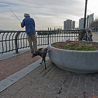 A man fishes in New York City's East River while his dog marks the territory.