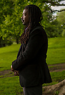 Elvis Alves '02, was born in Guyana and grew up in Brooklyn, New York. He spend much of his youth at Fort Greene Park and has published Bitter Melon, Ota Benga, and I Am No Battlefield But a Forest of Trees Growing, all collections of his poetry, pictured June 5, 2018 in Brooklyn, New York.