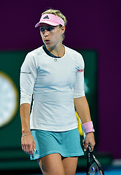 DOHA, Feb. 14, 2019  Angelique Kerber of Germany reacts during the women's singles second round match between Angelique Kerber of Germany and Anett Kontaveit of Estonia at the 2019 WTA Qatar Open in Doha, Qatar, Feb. 13, 2019. Angelique Kerber won 2-0. (Credit Image: © Nikku/Xinhua via ZUMA Wire)