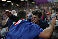 Thomas Walsh, New Zealand, celebrates, after shot put final gold during the IAAF World Championships at the London Stadium, London, England on 6 August 2017. Photo by Myriam Cawston.