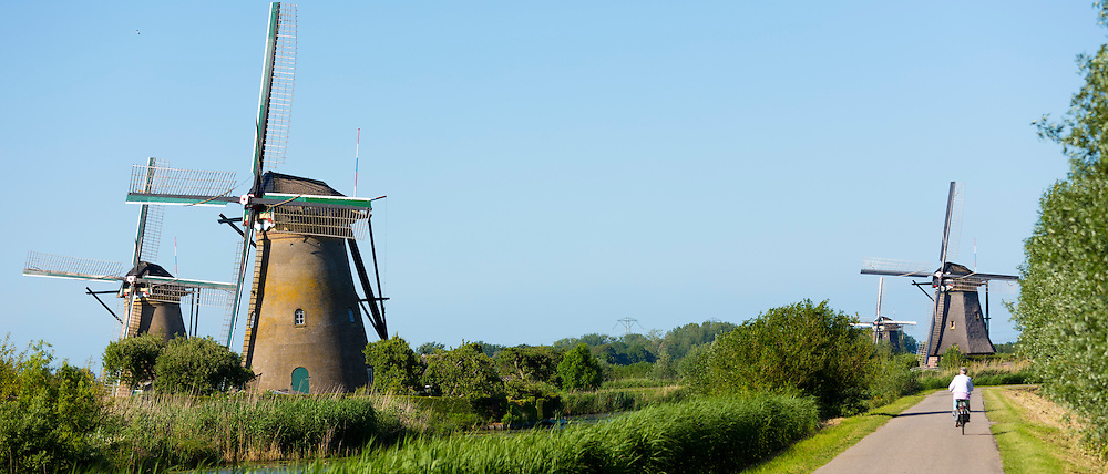 Cyclist passes group of authentic windmills at Kinderdijk UNESCO World Heritage Site, Holland, The Netherlands