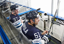 Mika Pyorala and Valtteri Filippula of Finland during the 2017 IIHF Men's World Championship group B Ice hockey match between National Teams of Finland and France, on May 7, 2017 in Accorhotels Arena in Paris, France. Photo by Vid Ponikvar / Sportida