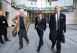 """© Licensed to London News Pictures. 10/11/2018. London, UK. JO JOHNSON MP (right) and his father STANLEY JOHNSON (left) leave BBC Broadcasting House in London after JO JOHNSON resigned as transport minister yesterday. Mr Johnson, brother of former foreign secretary Boris Johnson, resigned his ministerial post saying it's """"imperative we go back to the people and check"""" they still want to leave. Photo credit: Ben Cawthra/LNP"""
