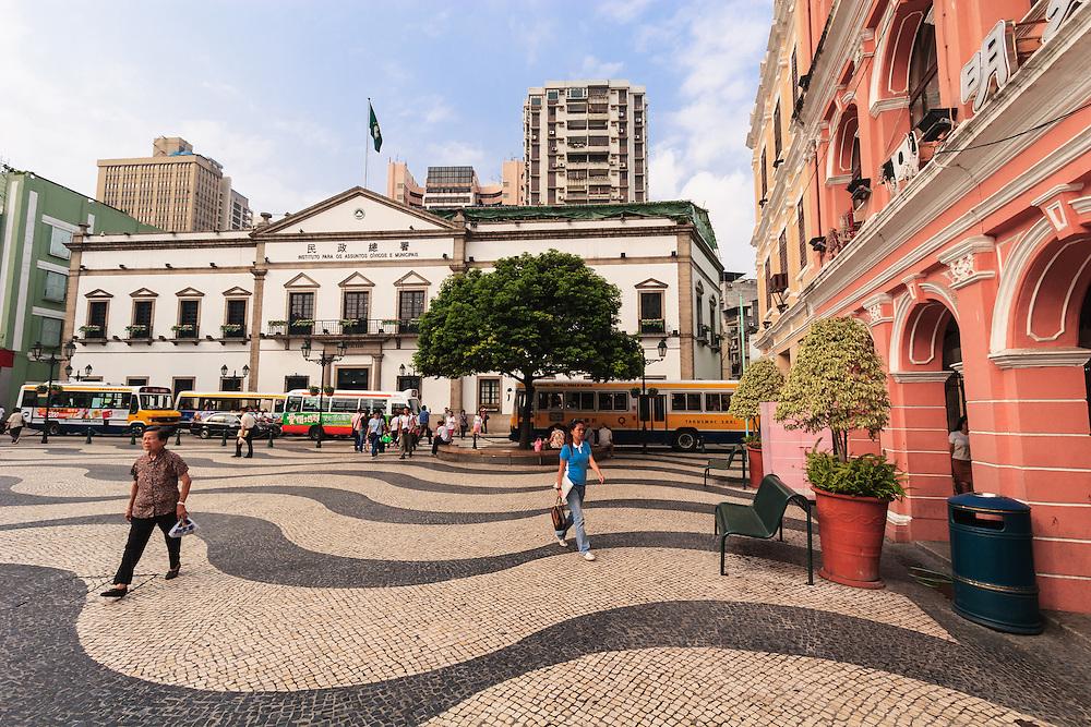 Senate Square in Macau, China. The white Leal Senado was the Senate House and seat of the Macau government when it was a Portuguese colony.