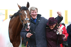 Trainer Ben Case (centre) with horse Croco Bay after victory at the Johnny Henderson Grand Annual Challenge Cup Handicap Chase during Gold Cup Day of the 2019 Cheltenham Festival at Cheltenham Racecourse.