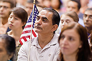 "July 2 - PHOENIX, AZ: Nearly 200 people were sworn in as US citizens during the ""Fiesta of Independence"" at South Mountain Community College in Phoenix, AZ, Friday. The ceremony is an annual event on th 4th of July weekend and usually the largest naturalization ceremony of the year in the Phoenix area.  Photo by Jack Kurtz"