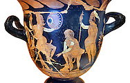 Erotic attica style krater with red figures made in Saticula; present day Sant'Agata de' Goti produczione capuana; attributed to Painter Parrish around 350 B.C, inv 81926,  Secret Museum or Secret Cabinet, Naples National Archaeological Museum , white background .<br /> <br /> If you prefer to buy from our ALAMY PHOTO LIBRARY  Collection visit : https://www.alamy.com/portfolio/paul-williams-funkystock - Scroll down and type - Roman Art Erotic  - into LOWER search box. {TIP - Refine search by adding a background colour as well}.<br /> <br /> Visit our ROMAN ART & HISTORIC SITES PHOTO COLLECTIONS for more photos to download or buy as wall art prints https://funkystock.photoshelter.com/gallery-collection/The-Romans-Art-Artefacts-Antiquities-Historic-Sites-Pictures-Images/C0000r2uLJJo9_s0