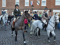 © Licensed to London News Pictures. 26/12/2016. Market Bosworth, Leicestershire, UK. The Boxing Day meet of the Hunt in Market Bosworth, Leicestershire. Photo credit: Dave Warren/LNP