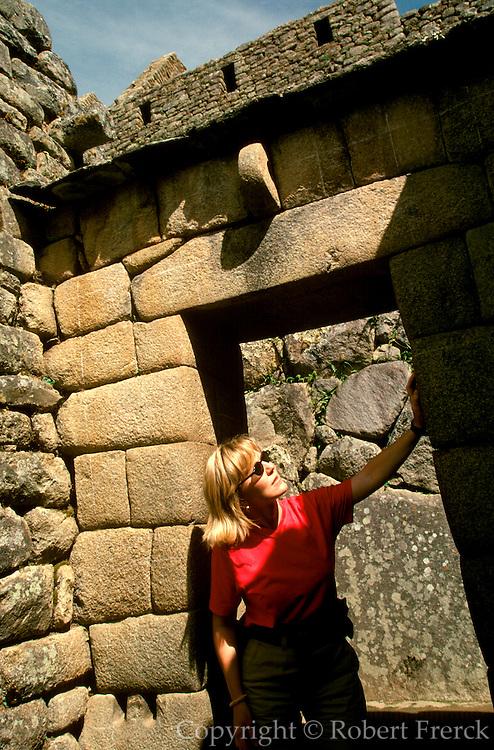 PERU, PREHISPANIC, INCA Machu Picchu; Temple of the Sun