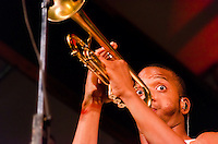 Trombone Shorty with Orleans Avenue working hard at The Appel Farm's 2011 Arts & Music Festival in Elmer, NJ.