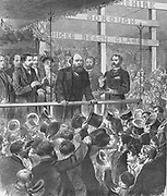 Election campaign, November/December 1885.  Lord Salisbury, Conservative Prime Minister addressing the Conservative  association at Newport, Monmouthshire. The Liberals under Gladstone defeated the Conservatives. From 'The Illustrated London News,  17 October 1885.