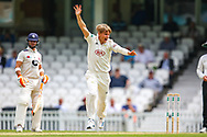 Sam Curran of Surrey bowling appeals for lbw which was rejected during the Specsavers County Champ Div 1 match between Surrey County Cricket Club and Kent County Cricket Club at the Kia Oval, Kennington, United Kingdom on 10 July 2019.