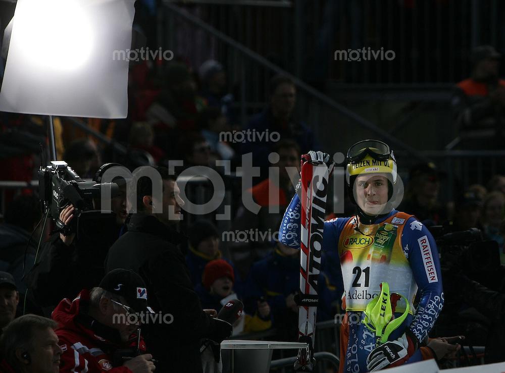 Ski Alpin; Saison 2006/2007  41. Weltcup Slalom Herren Daniel Albrecht (SUI) beim TV Interview