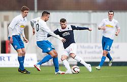 Morton's Darren Cole and Falkirk's Mark Millar.<br /> halt time ; Falkirk 0 v 1 Morton, Scottish Championship game today at The Falkirk Stadium.<br /> © Michael Schofield.