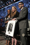 NEW YORK, NEW YORK-JUNE 4: (L-R) AuthorArts Educator Sarah E. Lewis, Chelsea Clinton (Honoree) and Philanthropist Alex Soros attend the 2019 Gordon Parks Foundation Awards Dinner and Auction Inside celebrating the Arts & Social Justice held at Cipriani 42nd Street on June 4, 2019 in New York City. (Photo by Terrence Jennings/terrencejennings.com)