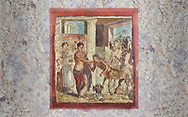 Roman Erotic Fresco from Pompeii, 1st cent AD , workshop Banner showing Mercury with a massive phalus , Secret Museum or Secret Cabinet, Naples National Archaeological Museum