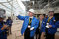 Oasis of the Seas at the shipyard in Turku, Finland where she is being built...Richard Fain, Chairman and CEO Royal Caribbean Cruises LTD in the Solarium.