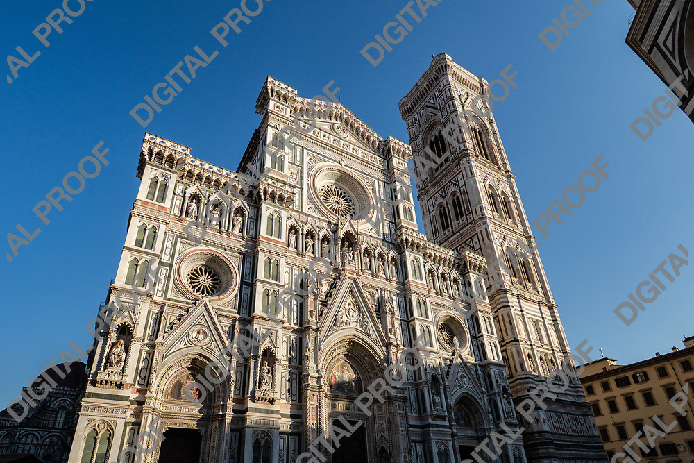 Firenze, Tuscany Italy - December 30, 2018 frontal lower view the Duomo of Florence and Giotto's Bell Tower during the day