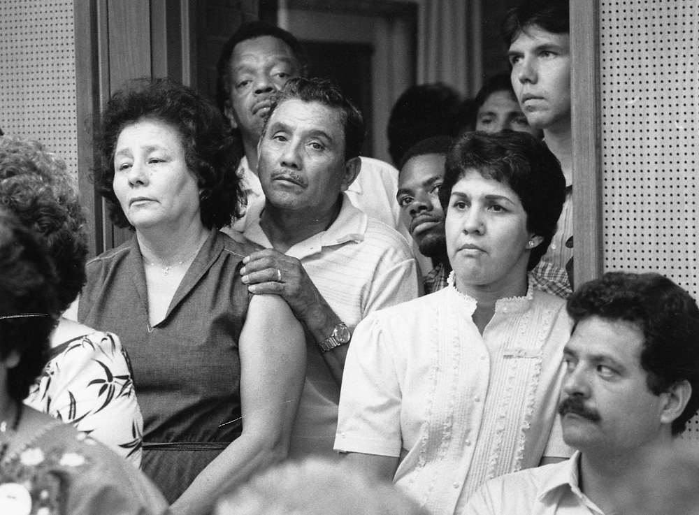 ©1992  Concerned parents at school board meeting to duscuss the busing of students at the Austin,TX School Board.
