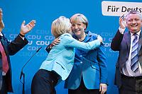 22 SEP 2013, BERLIN/GERMANY:<br /> Ursula von der Leyen (R), CDU, Bundesarbeitsministerin, umarmt Angela Merkel (L), CDU, Bundeskanzlerin, waehrend sie ausgelassen das Wahlergebnis am Wahlabend der CDU nach der Bundestagswahl 2013 feiern, Konrad-Adenauer-Haus<br /> IMAGE: 20130922-02-030<br /> KEYWORDS: Wahlparty, election party, Feier, feiern, Jubel, jubeln, Applaus, applaudieren, klatschen, Hermann Gröhe, Umarmung, herzt, herzen