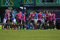 Football - 2018 / 2019 Emirates FA Cup - Fourth Round: Portsmouth vs. Queens Park Rangers<br /> <br /> Tempers flare during the second half after Portsmouth's Ronan Curtis and Josh Scowen of Queens Park Rangers clashed in a tackle at Fratton Park <br /> <br /> COLORSPORT/SHAUN BOGGUST