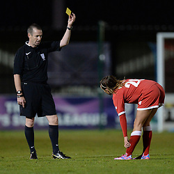 Bristol Academy Womens' Natasha Harding receives a yellow card. - Photo mandatory by-line: Alex James/JMP - Mobile: 07966 386802 - 04/10/2014 - SPORT - Football - Bristol - Stoke Gifford Stadium - Bristol Academy Womens v Notts County Ladies - Womens Super League
