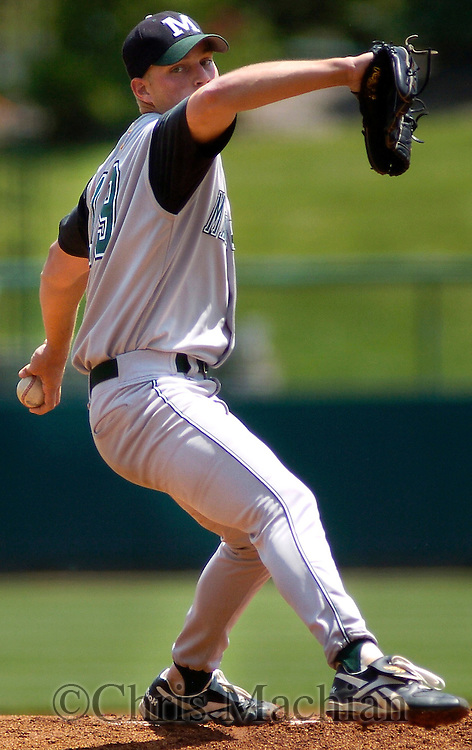6/2/06 Lincoln, NE Manhattan University pitcher Chris Cody pitches in the first inning against the  University of Nebraska at Haymarket Park in Lincoln Ne Friday afternoon.  Manhattan won 4-1. Cody threw 142 pitches in a complete game.(Chris Machian/Prairie Pixel Group)