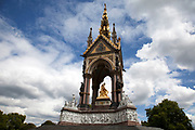 Albert Memorial in Hyde Park opposite the Royal Albert Hall, Knightsbridge, West London. This giant gold sculpture of Prince Albert, husband to Queen Victoria was made a a symbol of her love for him.