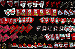 Liverpool badges for the sale prior to the match