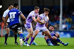 Tom Hendrickson of Exeter Chiefs fends off Elliott Stooke of Bath Rugby - Mandatory by-line: Ryan Hiscott/JMP - 21/09/2019 - RUGBY - Sandy Park - Exeter, England - Exeter Chiefs v Bath Rugby - Premiership Rugby Cup