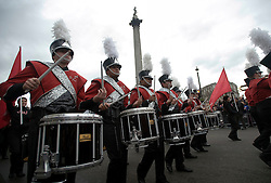 © London News Pictures. 01/01/2012. London, UK. Chatfield Senior High School Marching BAnd from Colorado, USA take part in the 2012 New Years Parade in London on January 1st, 2012. Photo credit : Ben Cawthra/LNP