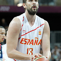 02 August 2012: Spain Marc Gasol is seen at the free throw line during 79-78 Team Spain victory over Team Great Britain, during the men's basketball preliminary, at the Basketball Arena, in London, Great Britain.