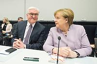 11 FEB 2017, BERLIN/GERMANY:<br /> Frank-Walter Steinmeier (L), SPD, Kandidat fuer das Amt des Bundespraesidenten, und Angela Merkel (R), CDU, Bundeskanzlerin, vor Beginn der CDU/CSU Fraktionssitzung am Vortag der Bundesversammlung, Reichstagsgebaeude, Deutscher Bundestag<br /> IMAGE: 20170211-01-027