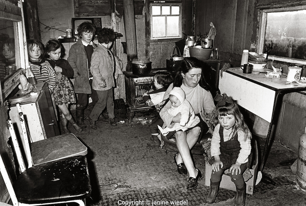 Irish Tinker Traveller family in house in Southern Ireland in the 1970's.