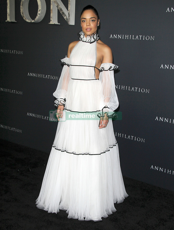 Annihilation Los Angeles Premiere at The Regency Village Theatre in Westwood, California on 2/13/18. 13 Feb 2018 Pictured: Tessa Thompson. Photo credit: River / MEGA TheMegaAgency.com +1 888 505 6342