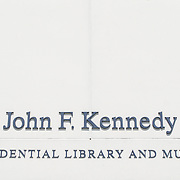 Sign above the entrance to the John F. Kennedy Presidential Library and Museum on the waterfront in Dorchester in Boston, Massachusetts. Dedicated to the 35th president of the United States, the JFK Library is the official National Archves and Records Administration repository of the presidential records of John F. Kennedy.