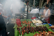 Pig and chicken intestines, pig blood, and fatty pork are common beloved street foods in Manila, Philippines. Isaw (pig and chicken small-intestine barbecue) is a national favorite, as is taba (pieces of pork fat skewered onto a stick and deep-fried). Dugo is curdled and congealed pig blood, cut into chunks, skewered, and then grilled. Cow blood is too strong tasting to use, say the street vendors. Adidas, named after the running shoe, is barbecued chicken feet. (Supporting image from the project Hungry Planet: What the World Eats.)