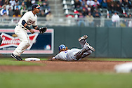 Justin Turner #2 of the New York Mets slides safely into 2nd base during a game against the Minnesota Twins on April 13, 2013 at Target Field in Minneapolis, Minnesota.  The Mets defeated the Twins 4 to 2.  Photo: Ben Krause