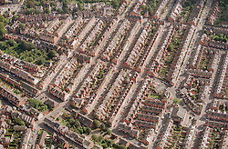 Ariel view of Forest Fields in Nottingham, Berridge Road runs through the centre of the picture
