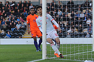 Nabil Touaizi Zoubdi of Spain (10) watches his shot go wide during the UEFA European Under 17 Championship 2018 match between Netherlands and Spain at the Pirelli Stadium, Burton upon Trent, England on 8 May 2018. Picture by Mick Haynes.