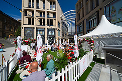 Edinburgh, Scotland, UK. 24 June 2021. First images of the new St James Quarter which opened this morning in Edinburgh. The large retail and residential complex replaced the St James Centre which occupied the site for many years. Pic; Outdoor bar and cafe  .Iain Masterton/Alamy Live News