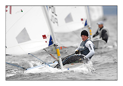 Matthew Wearn, AUS-193108.Day 2 brought Easterly changeable conditions for the Laser Radial World Championships, taking place at Largs, Scotland GBR. ..118 Women from 35 different nations compete in the Olympic Women's Laser Radial fleet and 104 Men from 30 different nations. .All three 2008 Women's Laser Radial Olympic Medallists are competing. .The Laser Radial World Championships take place every year. This is the first time they have been held in Scotland and are part of the initiaitve to bring key world class events to Britain in the lead up to the 2012 Olympic Games. .The Laser is the world's most popular singlehanded sailing dinghy and is sailed and raced worldwide. ..Further media information from .laserworlds@gmail.com.event press officer mobile +44 7775 671973  and +44 1475 675129 .