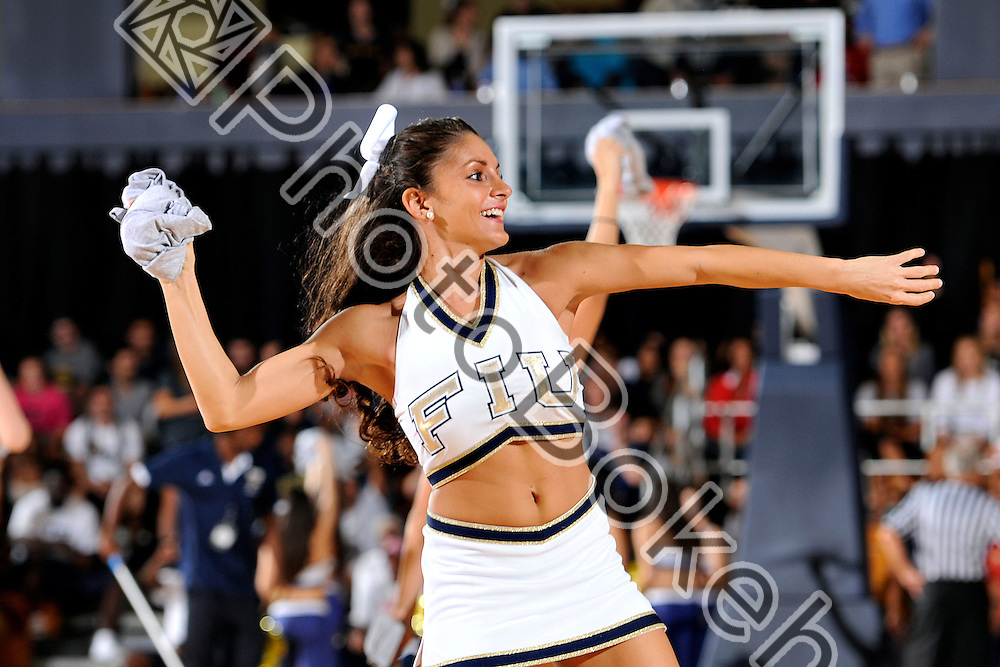 2012 November 17 - FIU's Cheerleaders performing for the fans at the US Century Bank Arena, Miami, Florida. (Photo by: www.photobokeh.com / Alex J. Hernandez) This image is copyright PhotoBokeh.com and may not be reproduced or retransmitted without express written consent of PhotoBokeh.com. ©2012 PhotoBokeh.com - All Rights Reserved