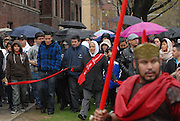 Parishioners from St. Jerome Catholic Parish in Chicago Rogers Park neighborhood observe a Good Friday Via Crucis, portraying the biblical account of Jesus Christ being condemned to death, followed by his crucifixion and entombment.