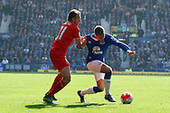 Gerard Deulofeu of Everton is held back by Lucas Leiva of Liverpool. Barclays Premier League match, Everton v Liverpool at Goodison Park in Liverpool on Sunday 4th October 2015.<br /> pic by Chris Stading, Andrew Orchard sports photography.